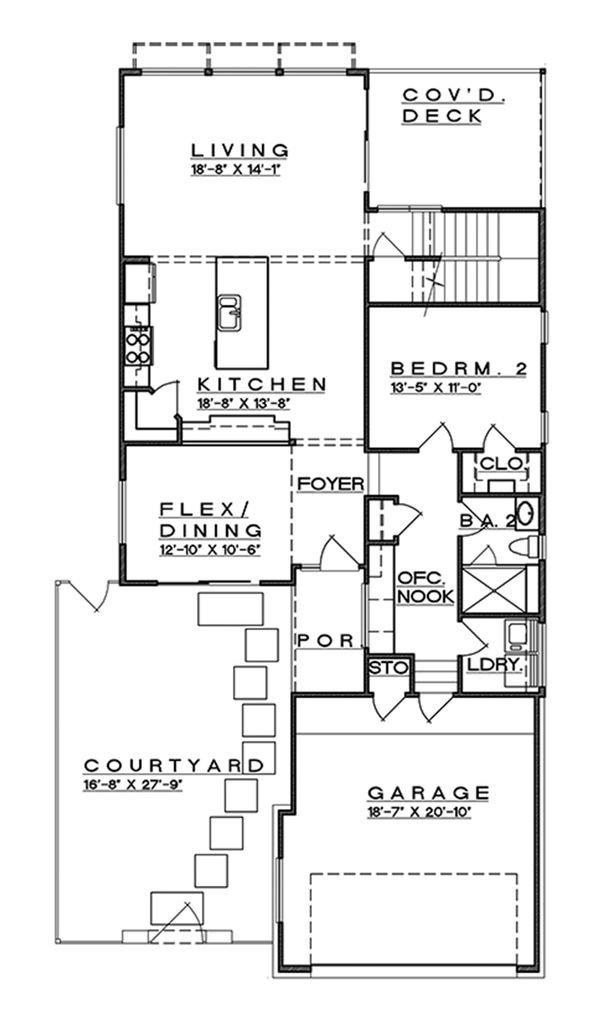 Contemporary Floor Plan - Main Floor Plan Plan #935-7