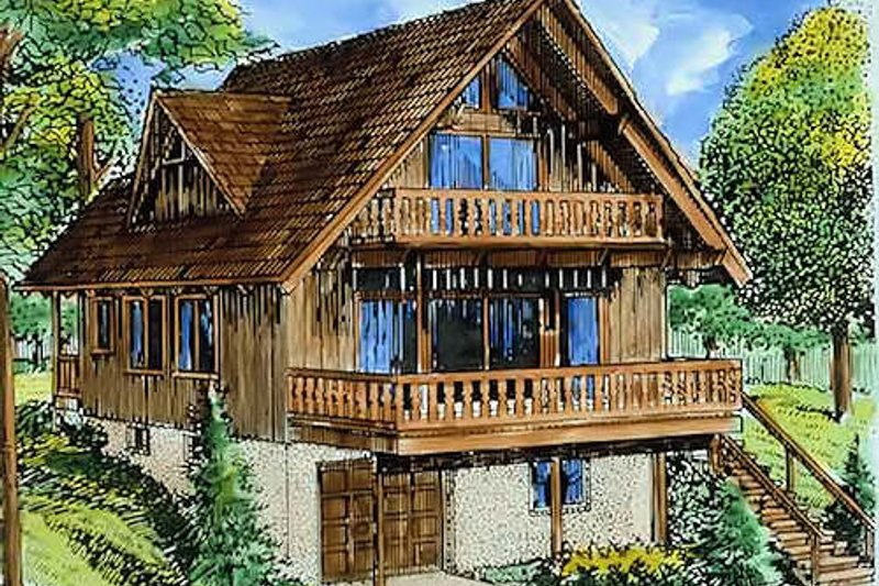 Cottage Exterior - Front Elevation Plan #320-293