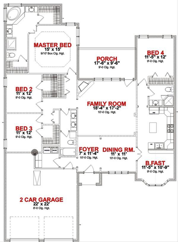 European Floor Plan - Main Floor Plan Plan #63-254