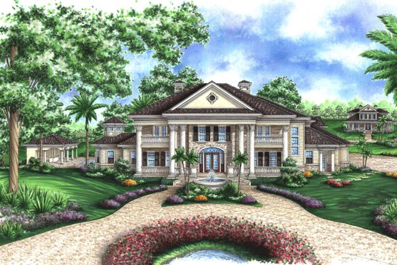 Southern Exterior - Front Elevation Plan #27-534