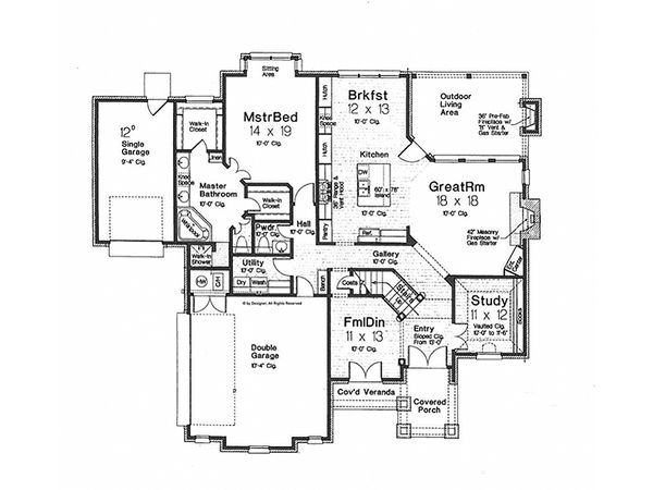 European Floor Plan - Main Floor Plan Plan #310-992