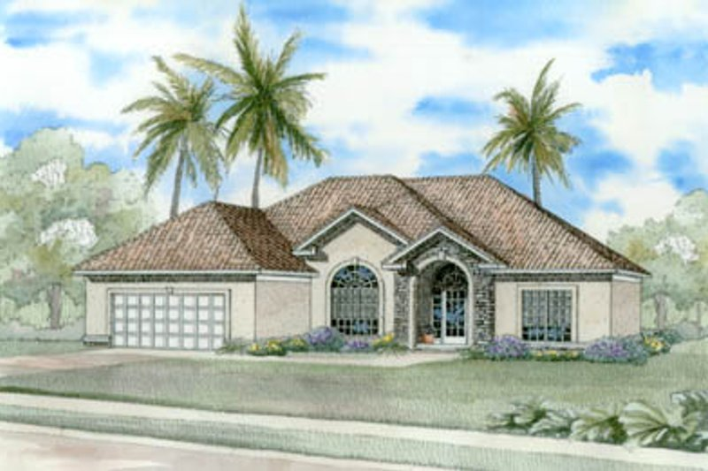 Mediterranean Style House Plan - 3 Beds 2 Baths 2237 Sq/Ft Plan #17-1133 Exterior - Front Elevation