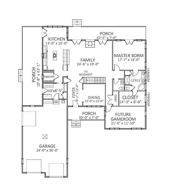 Farmhouse Floor Plan - Main Floor Plan Plan #898-34