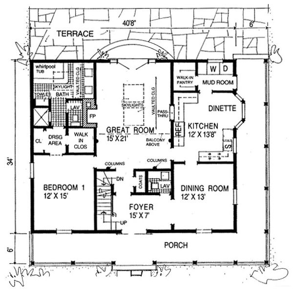 Country Floor Plan - Main Floor Plan Plan #315-104