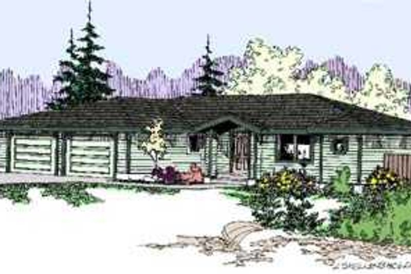 Ranch Exterior - Front Elevation Plan #60-483 - Houseplans.com