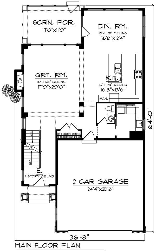House Plan Design - Craftsman Floor Plan - Main Floor Plan #70-1426