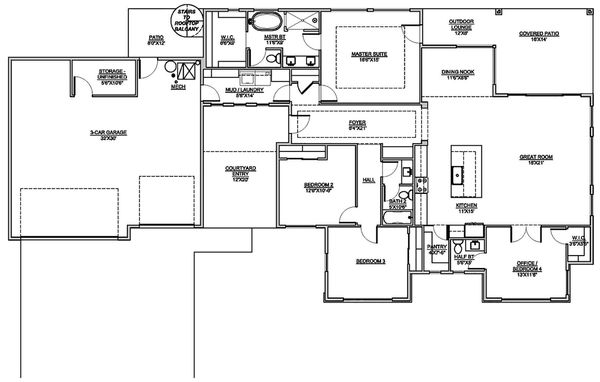 Modern Floor Plan - Main Floor Plan Plan #1073-11