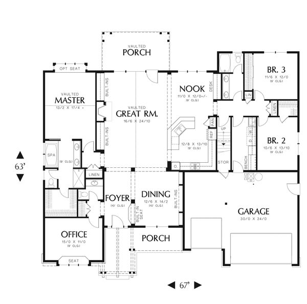 Craftsman Floor Plan - Main Floor Plan Plan #48-540
