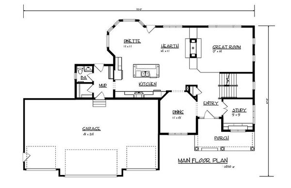 Craftsman Floor Plan - Main Floor Plan Plan #320-486