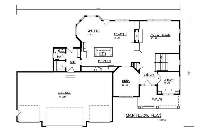 Craftsman Floor Plan - Main Floor Plan Plan #320-486
