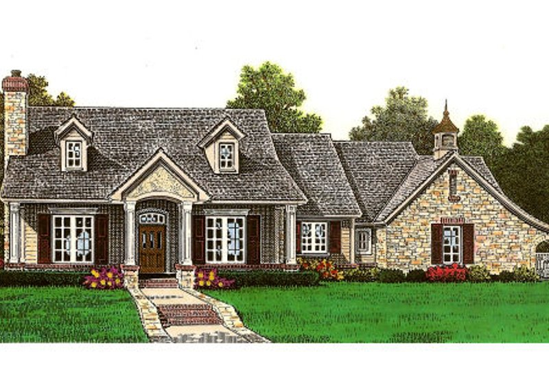 European Style House Plan - 3 Beds 2 Baths 1526 Sq/Ft Plan #310-655 Exterior - Front Elevation