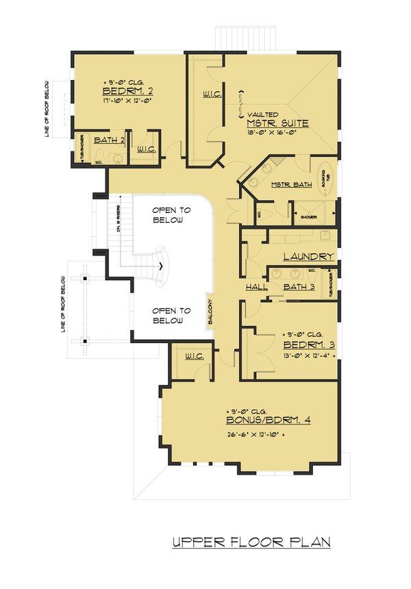 Traditional Floor Plan - Upper Floor Plan Plan #1066-58