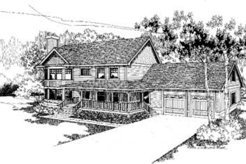 Traditional Style House Plan - 4 Beds 2.5 Baths 2381 Sq/Ft Plan #60-322 Exterior - Front Elevation