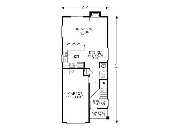 Craftsman Floor Plan - Main Floor Plan Plan #53-493