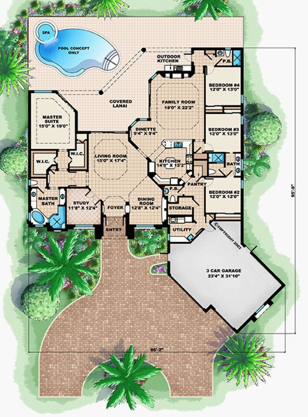 European Floor Plan - Main Floor Plan Plan #27-568