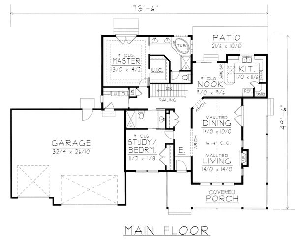 Country Floor Plan - Main Floor Plan Plan #112-161