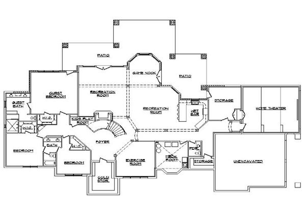 European Floor Plan - Lower Floor Plan Plan #5-346