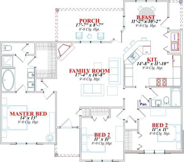 Traditional Floor Plan - Main Floor Plan Plan #63-147