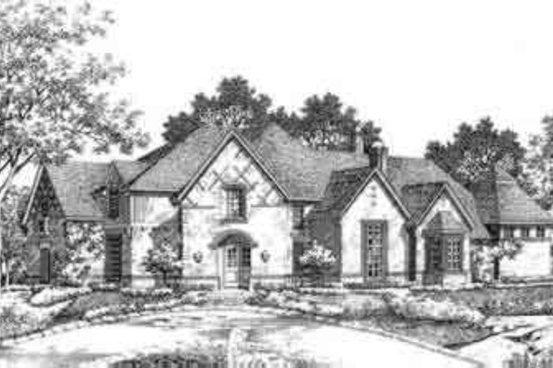 European Style House Plan - 5 Beds 4.5 Baths 4994 Sq/Ft Plan #141-138 Exterior - Front Elevation