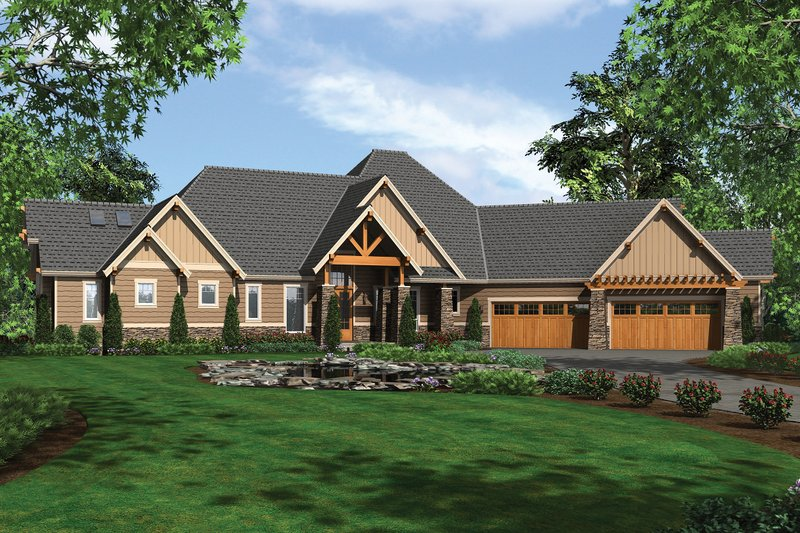 Dream House Plan - Front View - 5100 Square foot Craftsman home