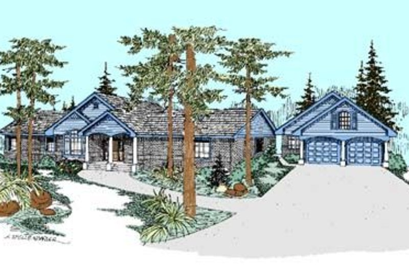Traditional Style House Plan - 4 Beds 2 Baths 2215 Sq/Ft Plan #60-282 Exterior - Front Elevation
