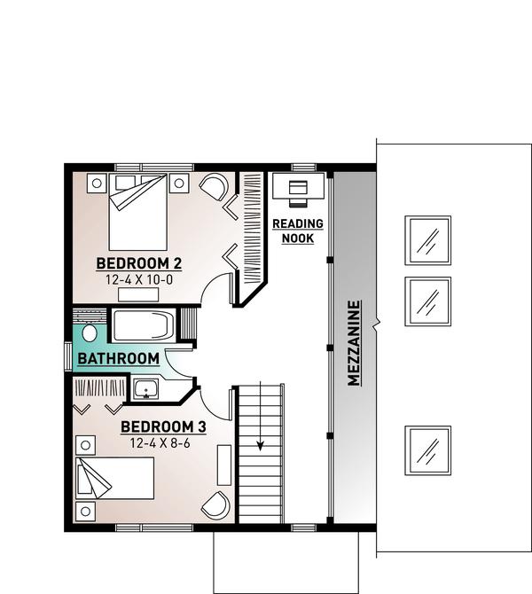 Contemporary Floor Plan - Upper Floor Plan Plan #23-2037