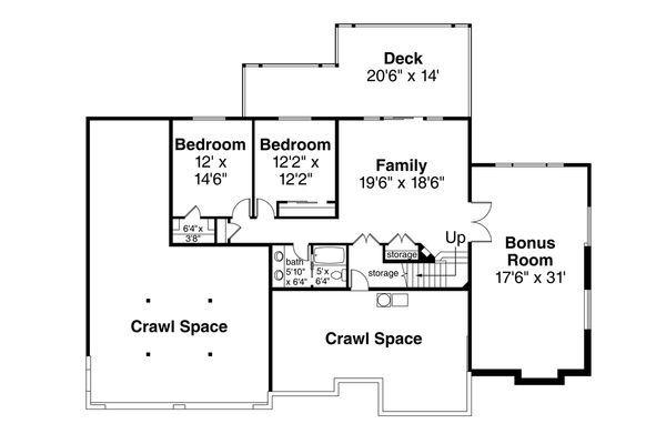 Traditional Floor Plan - Lower Floor Plan Plan #124-1118