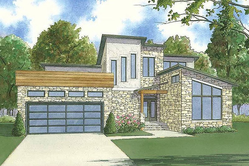Architectural House Design - Contemporary Exterior - Front Elevation Plan #923-55