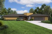 Contemporary Style House Plan - 3 Beds 2.5 Baths 2122 Sq/Ft Plan #48-698 Exterior - Front Elevation