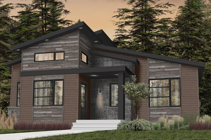 Modern Style House Plan - 2 Beds 1 Baths 1421 Sq/Ft Plan #23-2722 Exterior - Front Elevation