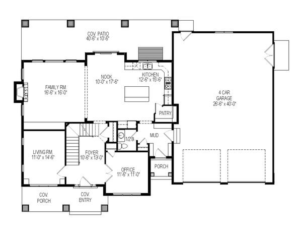 Craftsman Floor Plan - Main Floor Plan Plan #920-36