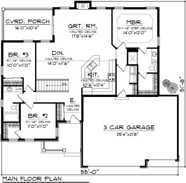 Traditional Floor Plan - Main Floor Plan Plan #70-1131