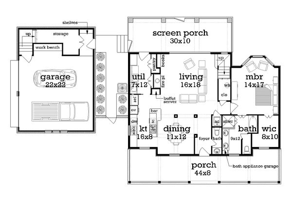 House Plan Design - Southern Floor Plan - Main Floor Plan #45-571
