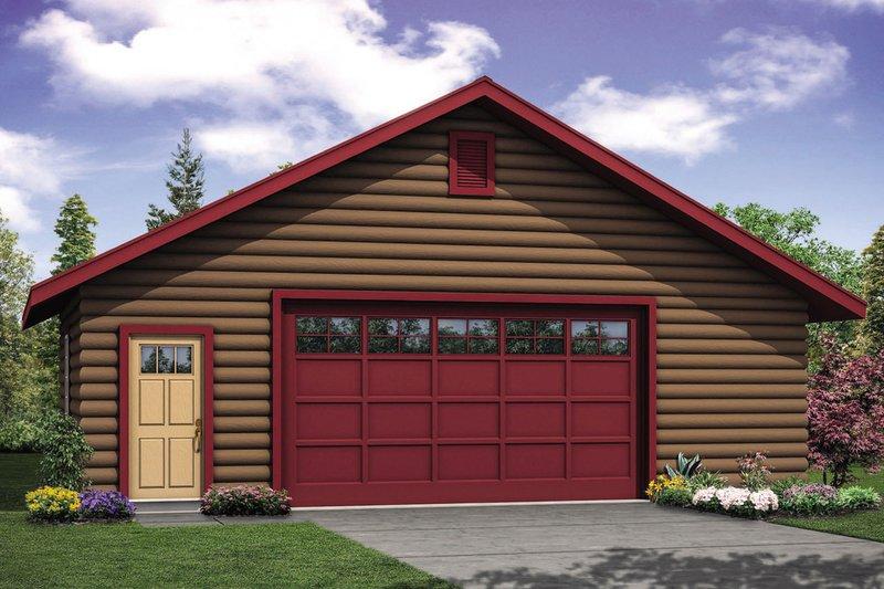 Log Exterior - Front Elevation Plan #124-1104