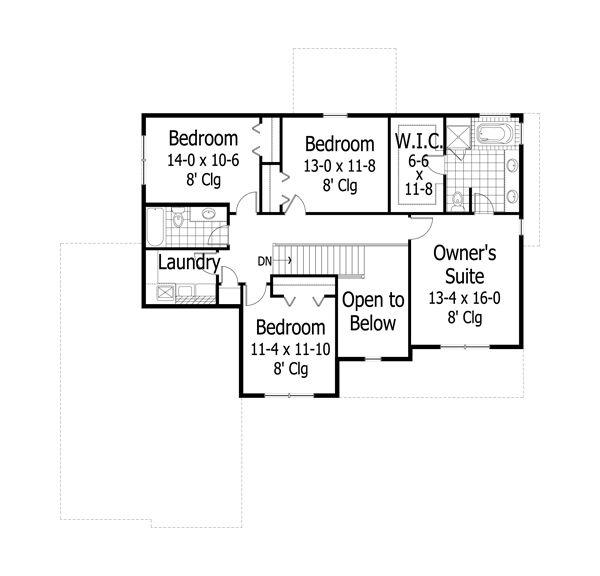 Traditional Floor Plan - Upper Floor Plan Plan #51-493