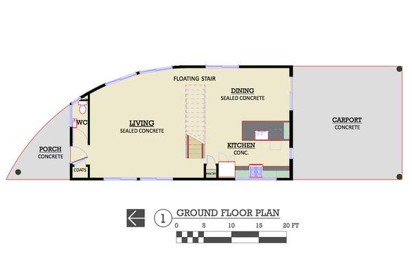 Modern Style House Plan - 3 Beds 2.5 Baths 2111 Sq/Ft Plan #450-6 Floor Plan - Main Floor Plan