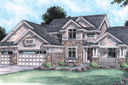 Bungalow Style House Plan - 4 Beds 4 Baths 2704 Sq/Ft Plan #20-1759 Exterior - Front Elevation