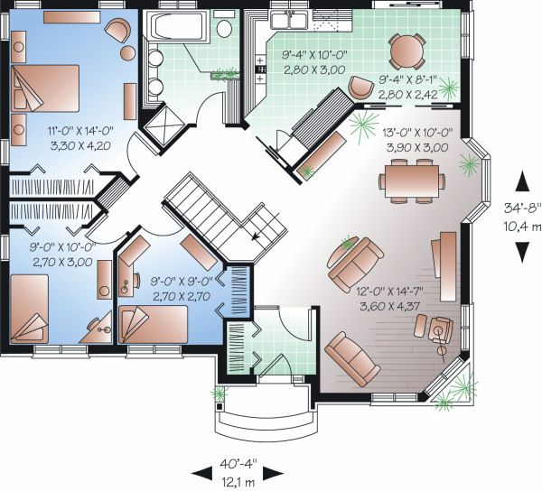 House Plan Design - Cottage Floor Plan - Main Floor Plan #23-858