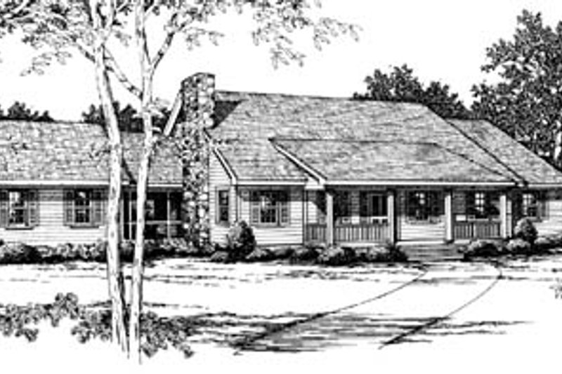 Ranch Style House Plan - 3 Beds 2 Baths 1773 Sq/Ft Plan #10-137 Exterior - Front Elevation