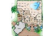 Mediterranean Style House Plan - 4 Beds 4.5 Baths 5049 Sq/Ft Plan #27-430 Floor Plan - Main Floor Plan
