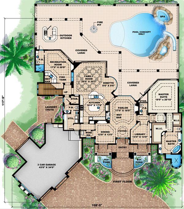 Mediterranean Floor Plan - Main Floor Plan Plan #27-430