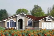 Adobe / Southwestern Style House Plan - 4 Beds 2 Baths 1831 Sq/Ft Plan #1-691 Exterior - Front Elevation