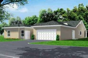 Ranch Exterior - Front Elevation Plan #1-584