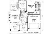 Craftsman Style House Plan - 3 Beds 2 Baths 1807 Sq/Ft Plan #51-551 Floor Plan - Main Floor