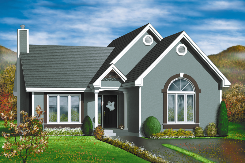 Traditional Style House Plan - 2 Beds 1 Baths 1212 Sq/Ft Plan #25-179 Exterior - Front Elevation