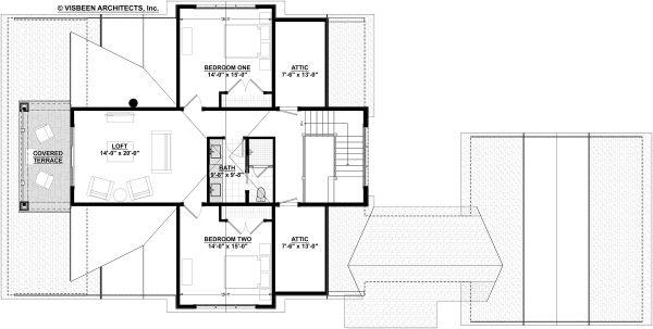 Bungalow Floor Plan - Upper Floor Plan Plan #928-330