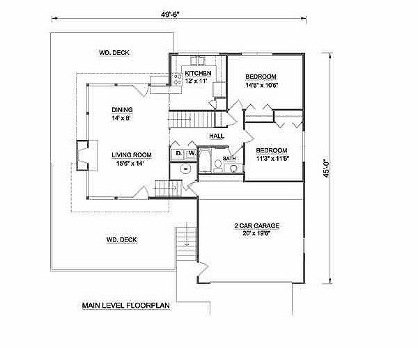Contemporary Floor Plan - Main Floor Plan Plan #116-125