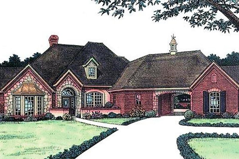 European Style House Plan - 3 Beds 2.5 Baths 2332 Sq/Ft Plan #310-827 Exterior - Front Elevation
