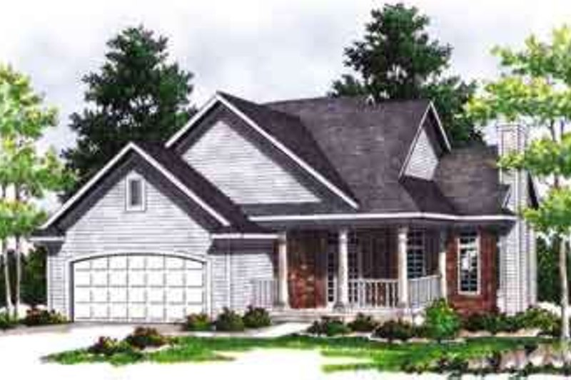 Mediterranean Style House Plan - 4 Beds 3.5 Baths 1817 Sq/Ft Plan #70-642 Exterior - Front Elevation