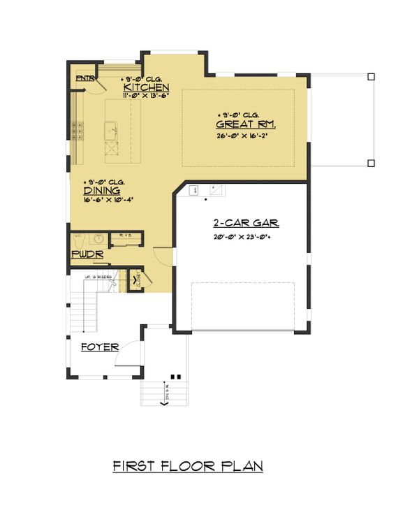 Contemporary Floor Plan - Main Floor Plan Plan #1066-81